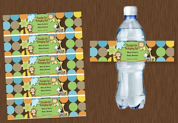 Instant DOWNLOAD Water Bottle Labels Printable Personalizable Jungle Baby Shower Birthday Party Family Reunion Favors Monkey king of jungle