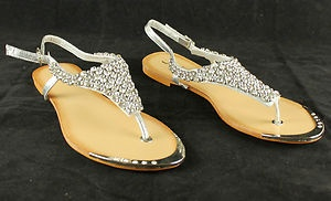 Kelsi Sandals Diamante Flip Flops Beach Wedding Shoes