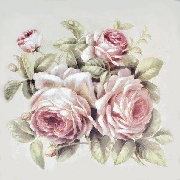 меня семьей картинки для декупажа винтажные розы обоев