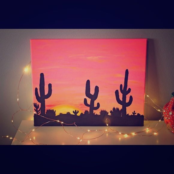 """Desert sunset painting ☀️ This unique desert sunset painting was hand painted by me, using long lasting acrylic paints on high quality canvas, and has great detail from the sunset to the different stands of pinks and oranges in the sky!  This painting will be sure to give you that """"western"""" desert feel you are searching for!  This 11""""x""""14 canvas painting would look amazing in any room and would definitely bring a little more color into your life. ❤  *Light stands not included, only shown for…"""