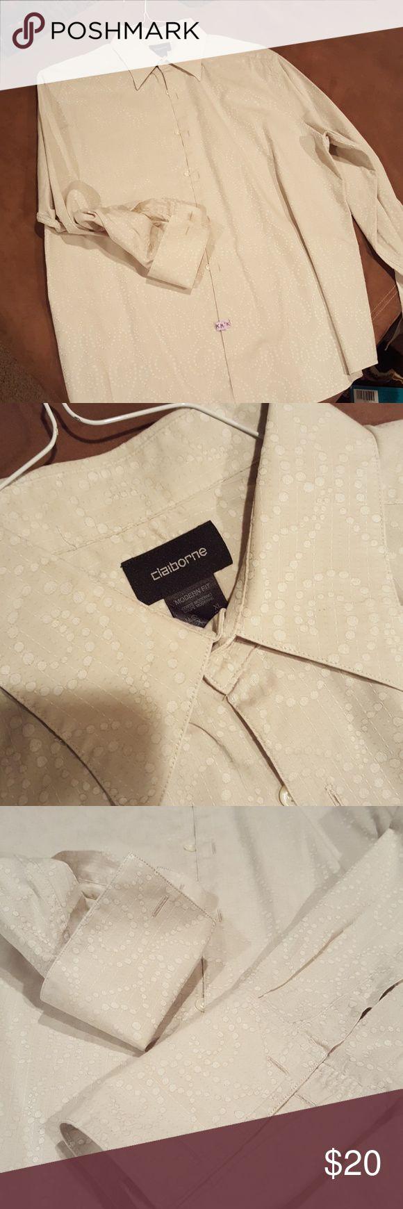 Amazing French Cuff Shirt Wow!!! Beautiful Claiborne Shirt Like New.. Amazing Fabric.. Shirts Dress Shirts