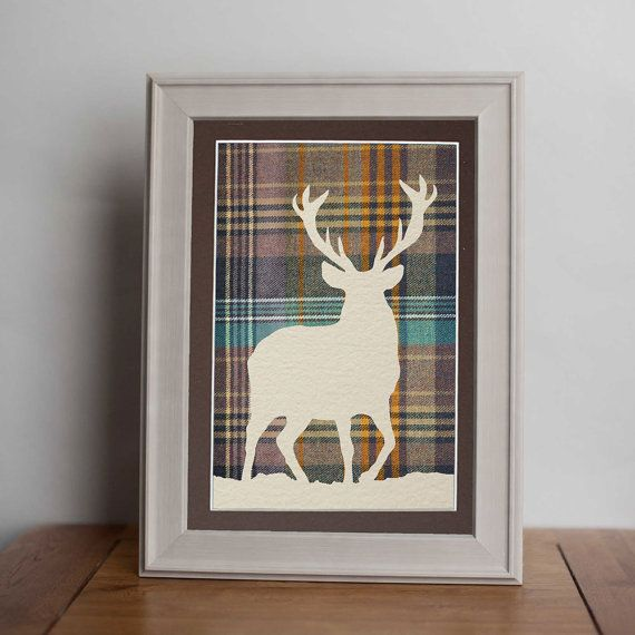 Beautiful tweed stag picture, unique card cut, framed or unframed, mounted. Mist card. on Etsy, £20.00