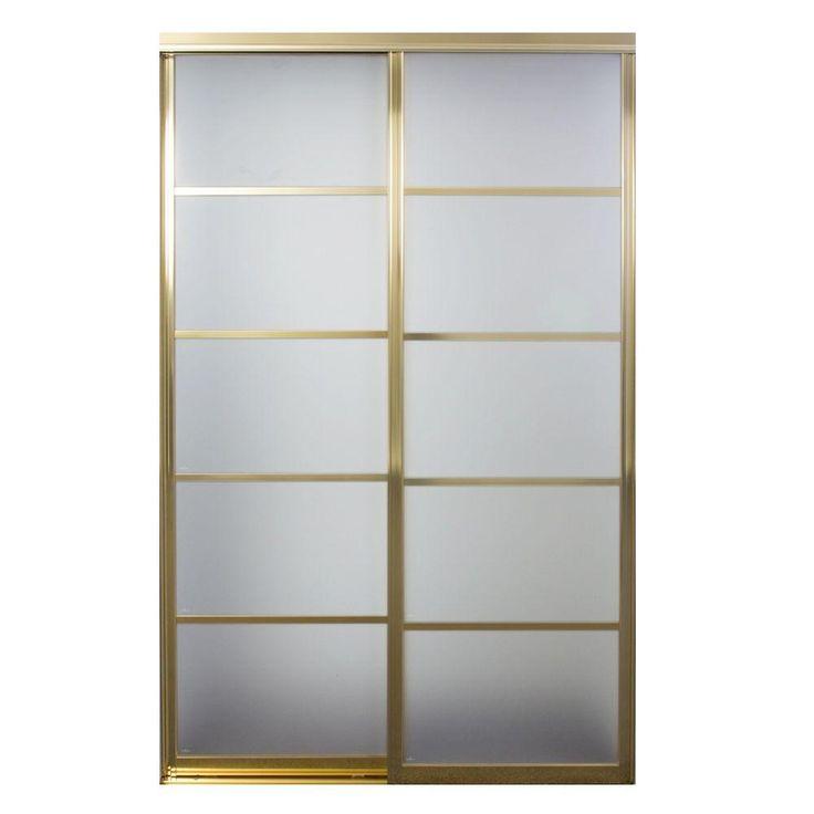 Contractors Wardrobe Silhouette 48 in. x 81 in. Bright Gold 5-Lite Mystique Glass Aluminum Interior Sliding Door, Bright Gold Finish