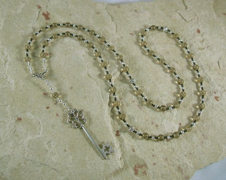 Hekate (Hecate) Prayer Bead Necklace in Smoky Quartz: Greek Goddess of Magic, Witchcraft