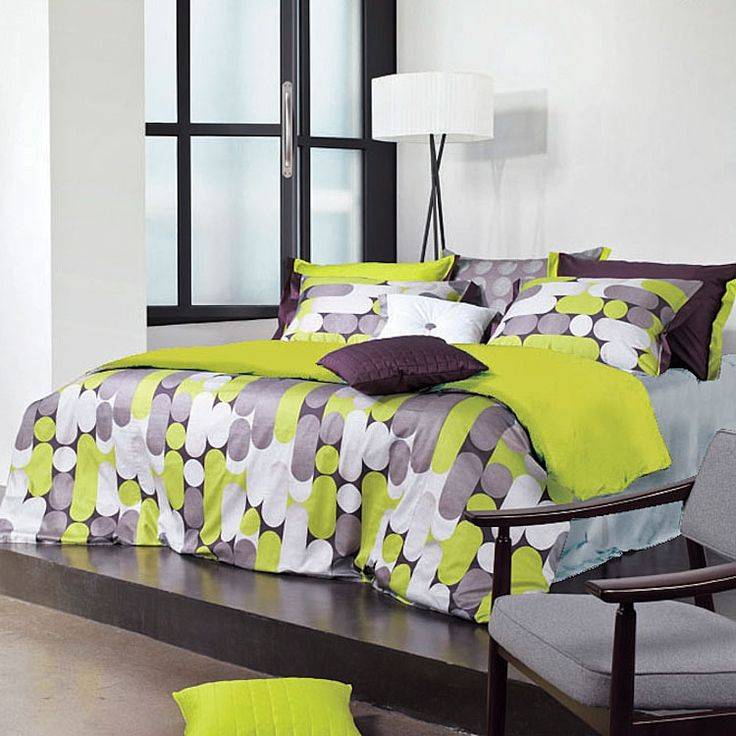 Green And Grey Bedroom: (guest Bed) 820TC MODERN GREEN GRAY DUVET COVER SET