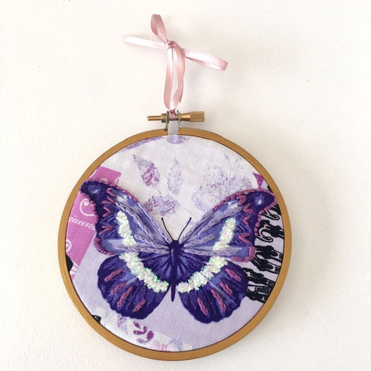 """makeforgood - Glitter Purple Butterfly Embroidery Hoop - 4"""" READY TO SHIP - Hand…"""