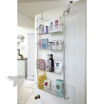 4 Tier Hanging Over Door Shelf Rack Chrome Plated For Bathroom Kitchen Storage