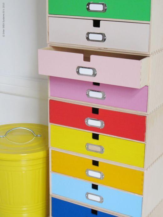 Ikea Hack: Pintar de colores los cajones de varios archivadores de madera : x4duros.com