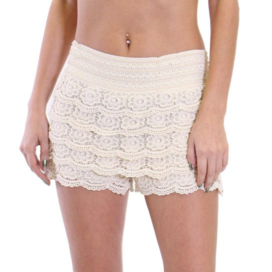Dress them up or down, these shorts feature a crochet overlay. Floral Crochet pattern throughout for a stylish look. Complete with a stretchy waistband for comfortable fit.
