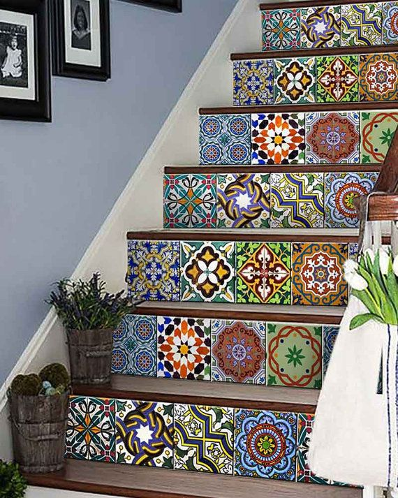 C Set 24 Vintage Traditional Mexican Tile Stickers Bathroom Stickers Tile For Walls Kitchen Decals DIY Home Decor Mixed