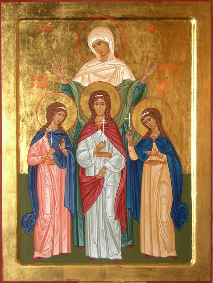 St. Sophia with her daughters: St. Faith, St. Hope & St. Love by Elena Hmelnitskaya