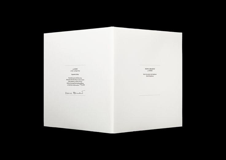 Albumet Marina Abramović: 512 Hours, på uppdrag av Serpentine Galleries (England). Utgiven i samband med utställningen, sommaren 2014.   Editor: Sophie O'Brien. Text: Marina Abramović (Life Manifesto).  Signerat och numrerat album i en upplaga av 100 exemplar, 315x315 mm, offset. I samarbete med The Vinyl Factory (England), 2014.
