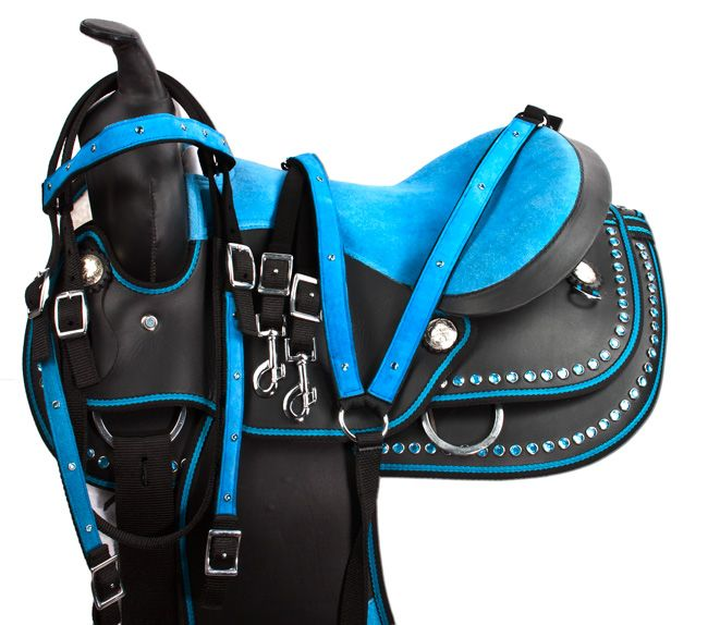 Youth Turquoise Blue Crystal Western Horse Saddle Tack 12 16- Western Horse Saddles - Saddle Online