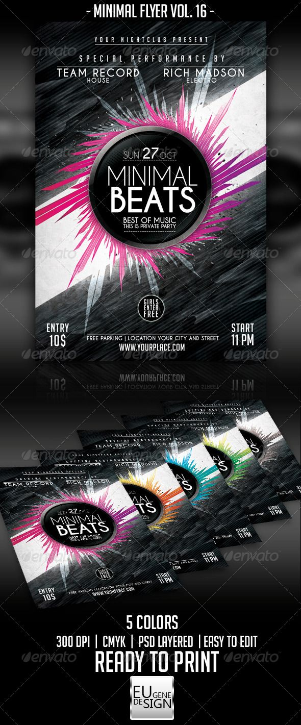 """Minimal Flyer Vol. 16  #GraphicRiver         Minimal Flyer Vol. 16   The PSD file is setup at 1275px x 1875px (4.25×6.25"""") CMYK 300DPI – READY TO PRINT   - Fonts : Caviar Dreams :  .dafont /caviar-dreams.font 
