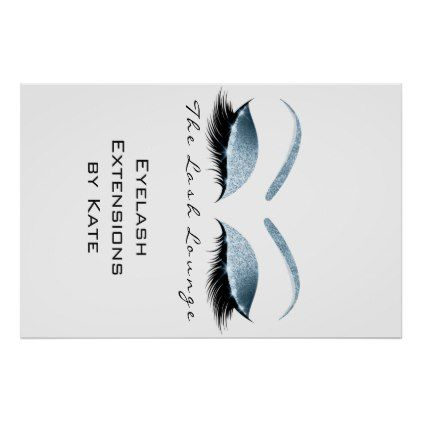 #salon - #Makeup Beauty Salon Name White Blue Black Eyebrows Poster