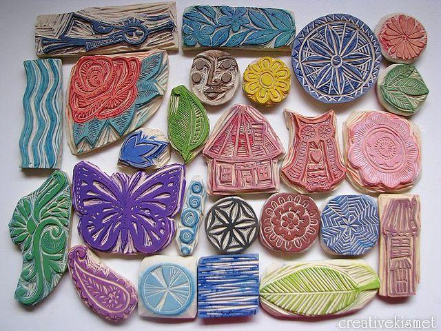 Carved stamps set stempel stempeln und kartoffeldruck