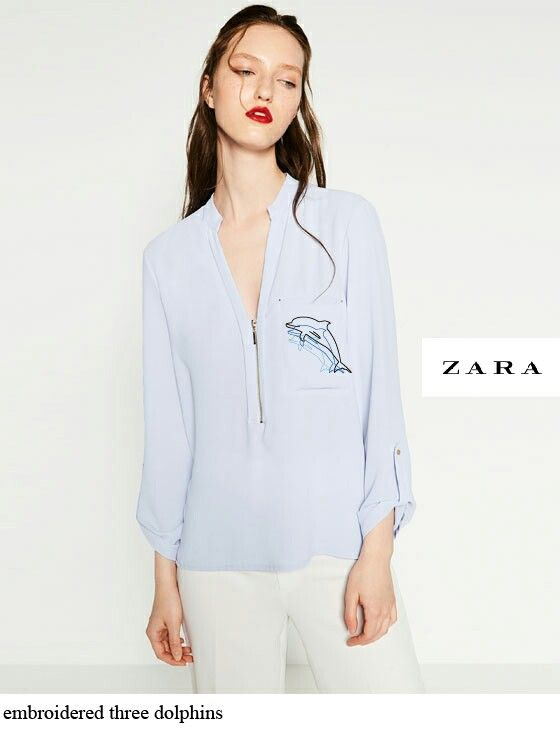 ZARA_embroidered dolphins pocket
