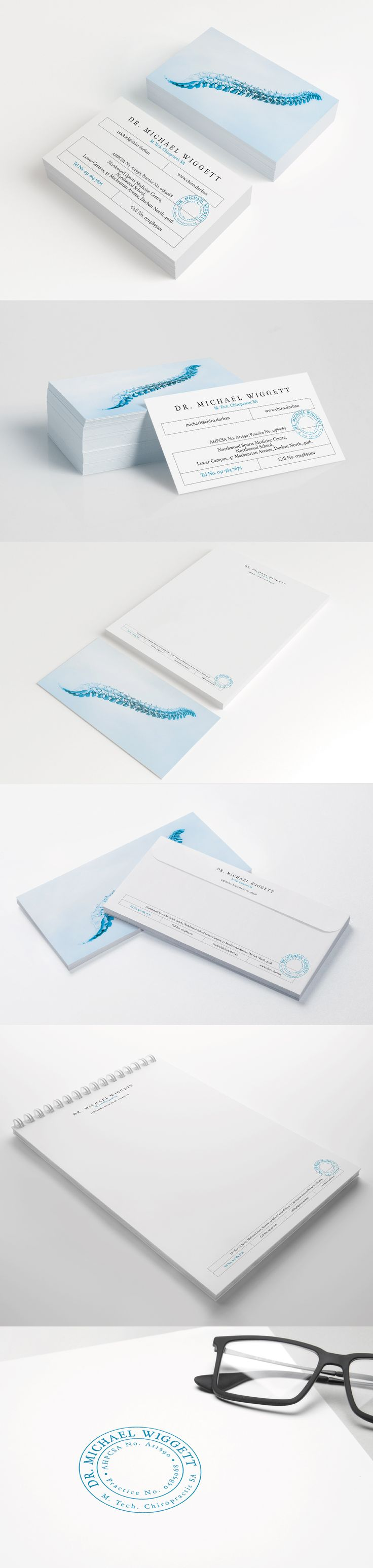 Michael Wiggett's Corporate Stationary, business cards, letterheads, envelopes, stamp and prescription pad.