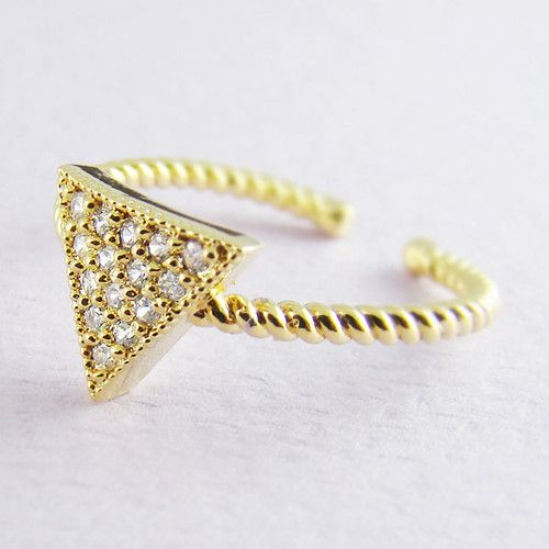 s s simple gold triangle ring gold