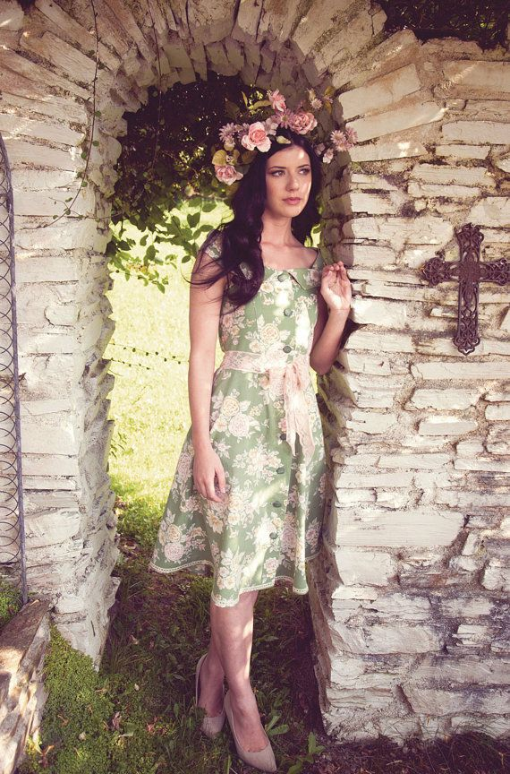 Green floral and pink lace off the shoulder midi dress 60s 70s by AliceHalliday