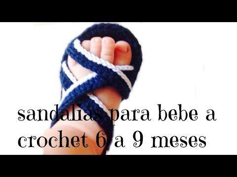 sandalias para bebe a crochet - YouTube