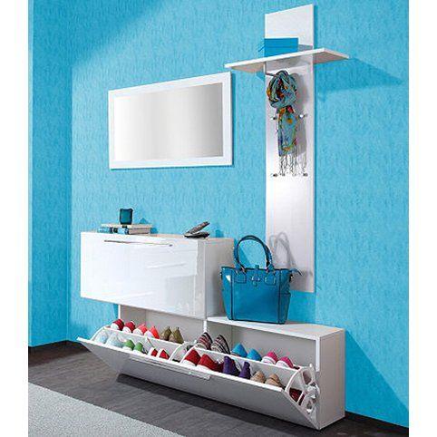 Ensemble vestiaire range-chaussures + porte-manteaux + miroir Lisboa - Blanc- Vue 1