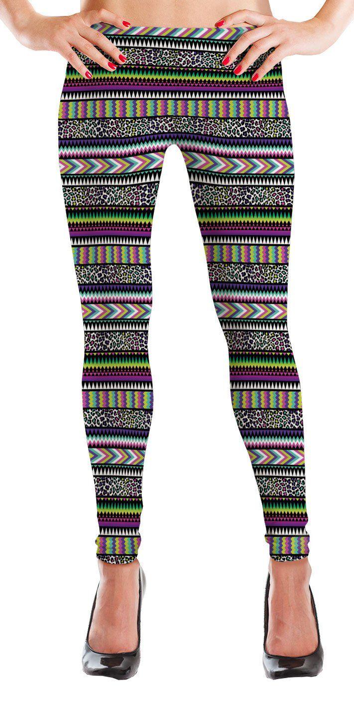 MyLeggings Buttersoft Printed Leggings Neon Cheetah Aztec - Medium