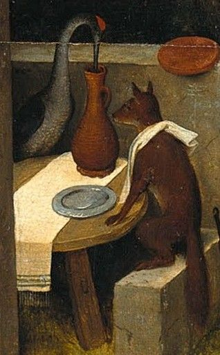 Detail from The Dutch Proverbs, Pieter Bruegel the Elder, 1559  The fox and the crane entertain each other  Two deceivers always keep their own advantage in mind