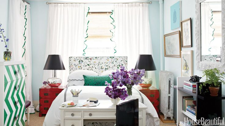 """Designer Nick Olsen broke all the rules when he decorated a 295-square-foot Brooklyn apartment with bold colors and patterns. """"Forget the rules. People think that if they paint the walls a color it will feel too cramped,"""" he says. """"And that every piece of furniture has to be pint-size."""" In the bedroom area, he added a soft touch to the metal Heimdal bed from Ikea by slipcovering a length of foam in Schumacher's Hong Kong for a headboard. Duvet cover and pillow shams by Schweitzer Linen…"""
