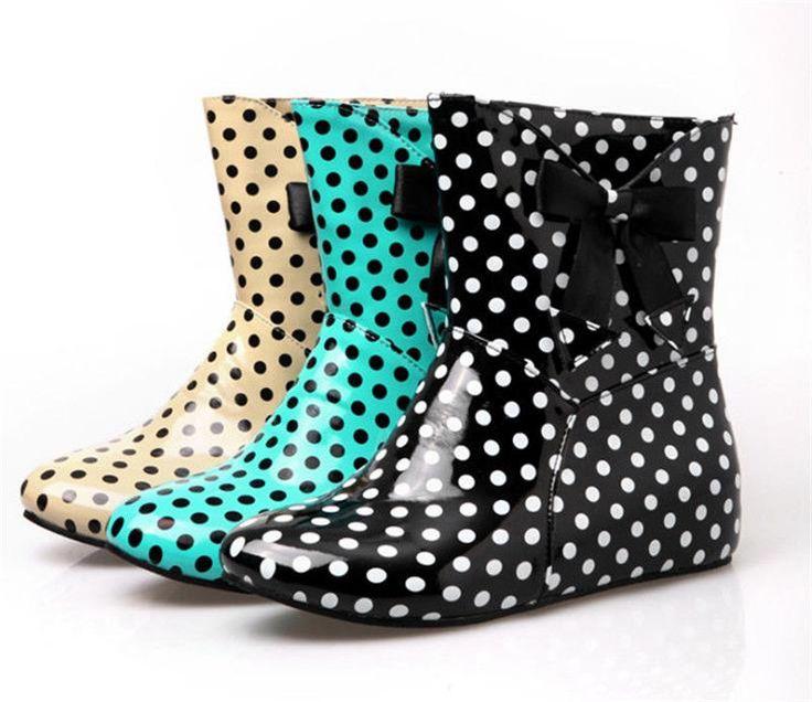Hot Sale Girl's Shoes Hidden Heel Ankle Boots Sweet Polka Dot Bow Rain Boots