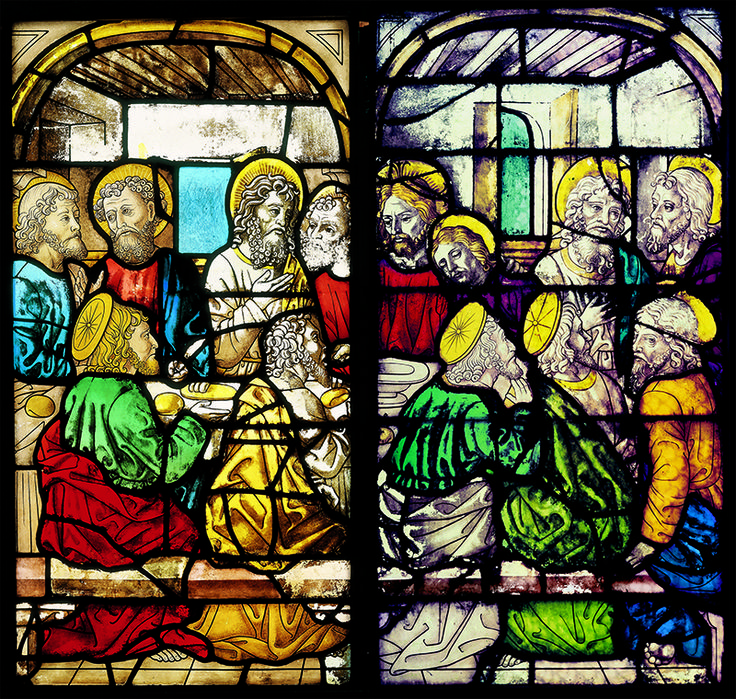 The Last #Supper in one of the most beautiful and ancient stained glass windows of the #milancathedral #duomodimilano #food #duomofood