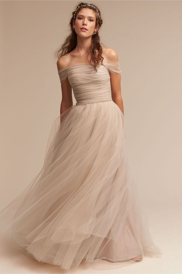 Ramona Gown | formal dress | tulle | floor length | prom | off shoulder | neutral colors | simple | brunette