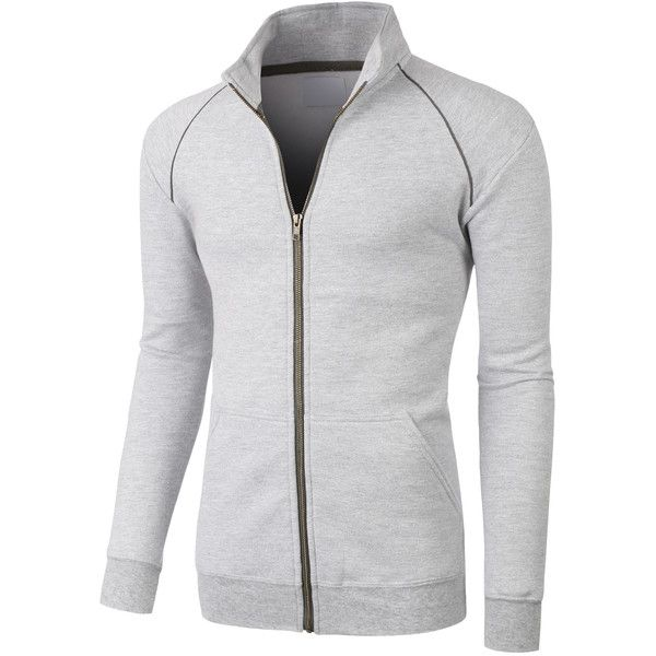 LE3NO PREMIUM Mens Lightweight Cadet Collar Full Zip Track Jacket ($36) ❤ liked on Polyvore featuring men's fashion, men's clothing, men's activewear, men's activewear jackets, mens track jacket and mens track tops