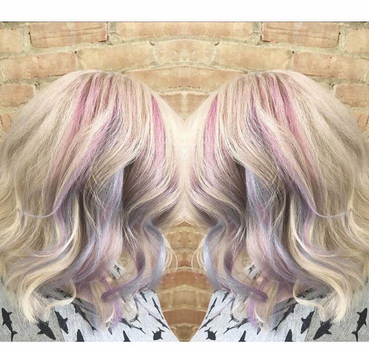 #pastelhair #pinkhair #unicornhair #blondehair @ravenskylar_hair