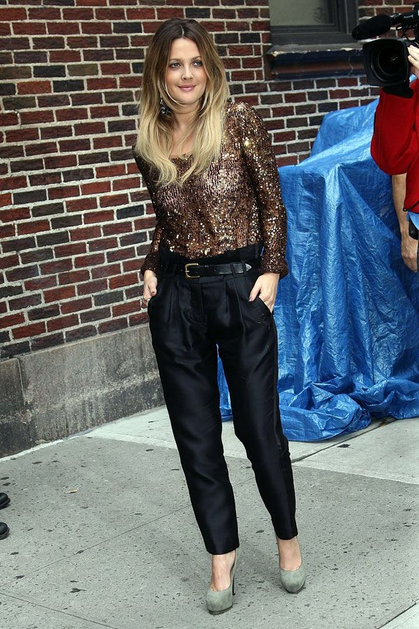 Drew Barrymore in a Richard Chai blazer and Camilla and Mark's Navigator Pants.