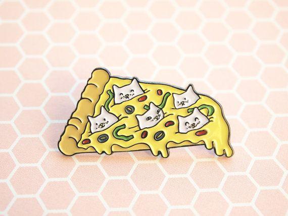 Pizza Cat enamel pin Pizza pin Cute cat pin soft enamel by ShopNDS