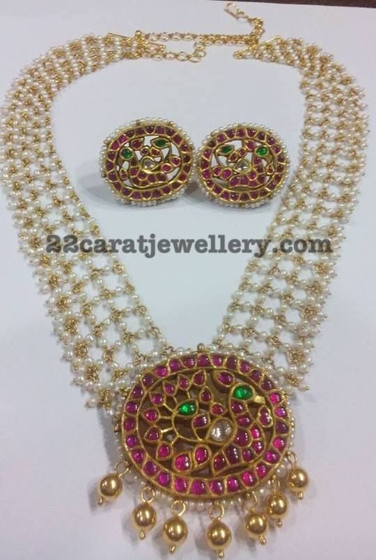 Pearls Chain with Ruby Pendant - Jewellery Designs