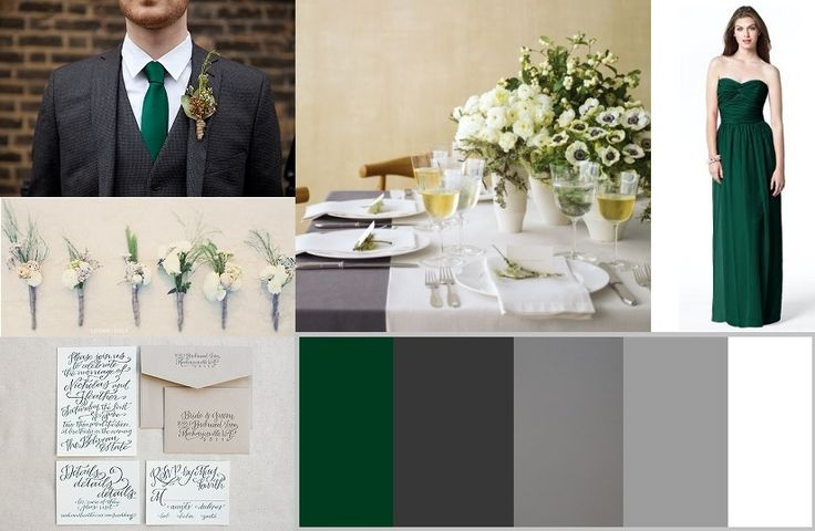 Hunter Green Wedding Colors | Hunter Green and Gray Wedding Inspiration