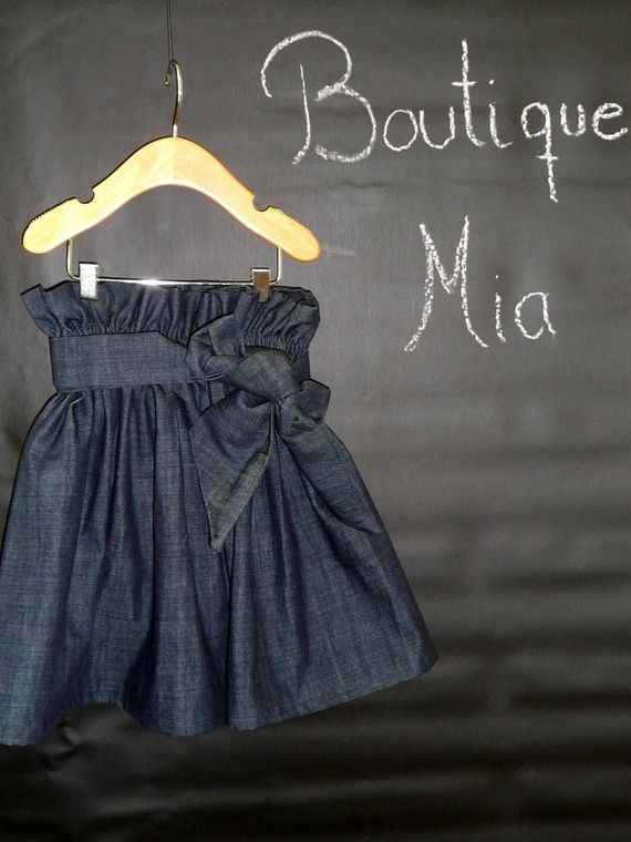 Paper Bag Denim SKIRT and SASH  Pick the size by BoutiqueMia, $30.00  I LOVE EVERYTHING ON HER ETSY PAGE!!!!!