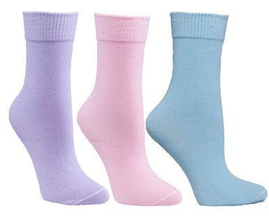 Womens Pink, Lavender, White Assorted 3 Pack Diabetic Socks