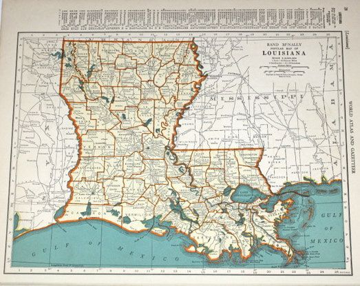 Southern Louisiana Map.Louisiana Map Vintage Orange And Blue 1940s Map Of By Booksygirl