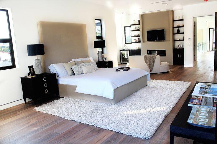 Contemporary Master Bedroom with Vladimir Kagan Shorty Sofa, Laura Ashley Home Bracken Leaf Lace Breakfast Throw Pillow