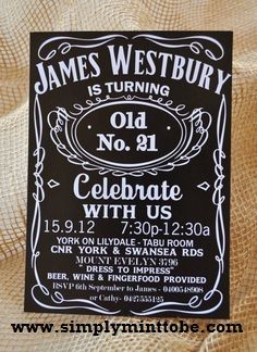 "Do It Yourself  --  Jack Daniels Digital Birthday Invitation  Let designs by Elle turn your party into an EVENT!!!  This handsome Jack Daniels Inspired 4x6 inch Party Invitation would make a great addition to your Jack Daniels Themed Event!  Matching items are available.  Please ask about our ""Party in a Box"".  Once you place your order you will receive a proof within 24 to 48 hours providing all information was giving at time of order.  Please provide the following information under ""Tell…"