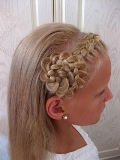 Cute halo braid with intricate flower bun