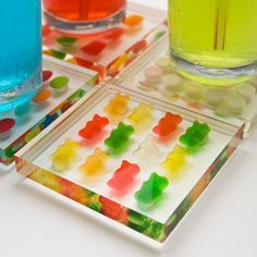Gummy Bear Coasters.How about making these with clear resin but using shark's teeth collected on the beach for years? Maybe that's how I'll display them.
