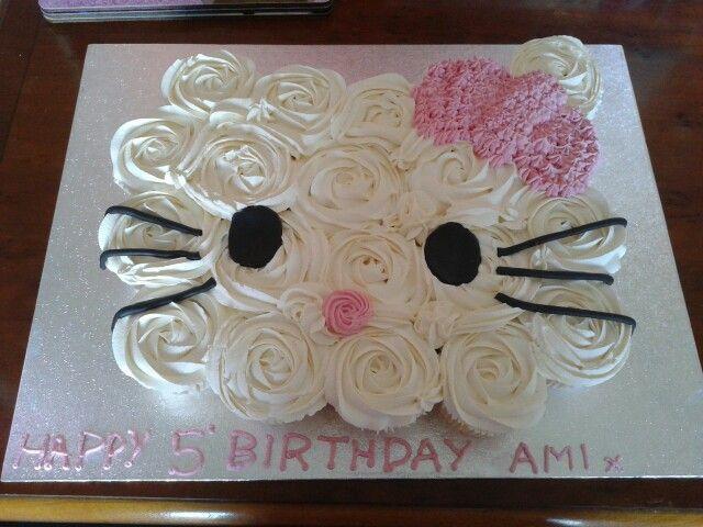 Hello Kitty Cupcake Birthday Cake @Christine Denton