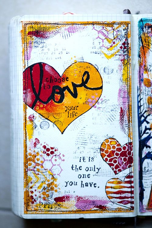 Love your life | I like this art journal page! {art journaling styles} | Pinterest | Art journal pages, Art and Journal
