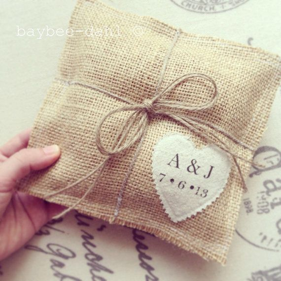 BURLAP RING BEARER Pillow by FrannyChicago on Etsy, $29.99
