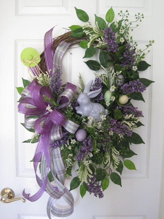 Easter Wreath, Lilac Wreath, Free Shipping, Spring Wreath, Front Door Wreath, Silk Flower Wreath, Handmade Wreath, Grapevine Wreath