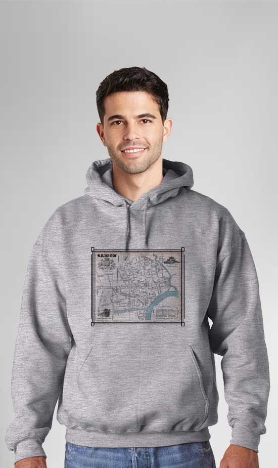 Saigon Map with Blue River. These Comfortable Hoodies are made from soft polyester & fleece to keep you warm and also provide moisture wicking technology for dryness. Our printing technology ensures high quality as the imagery will never crack, peel, unravel or fade over time. Hooded Sweatshirts are Designed, Printed & Sublimated in the USA -Fabric Imported. Part of the VetFriends Exclusive Vietnam Maps Collection